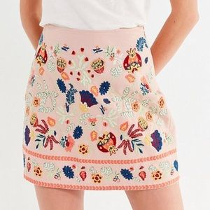 UO floral embroidered skirt